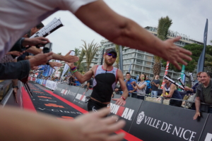 Cedric Lassonde finishing chute Ironman Nice