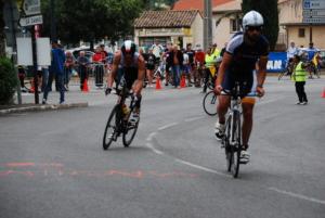 Cedric Lassonde and Andrej Vistica on bike @ Ironman Nice